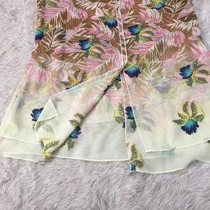 CAbi Tops - CAbi Pink Tan & Blue Floral Parlor Tank Size XS